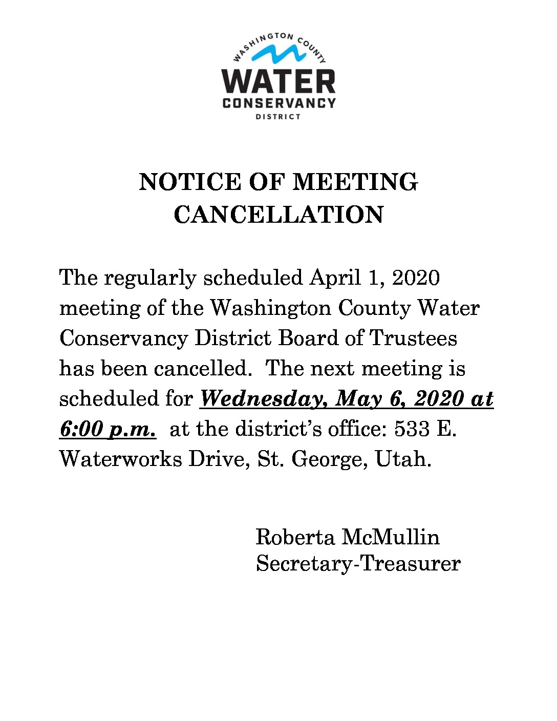 thumbnail of 2020-04-01Notice of Meeting Cancellation